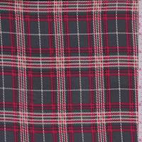 Pewter/Crimson Plaid Satin Charmeuse