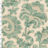 Teal/Ivory Raymond Waites Boxtree Woven Decorating Fabric