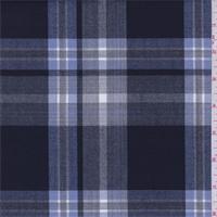 *3 YD PC--Blue/White/Black Tropical Wool Plaid