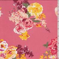 Coral Floral Bouquet Jersey Knit