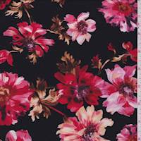 Black/Ruby Daisy Mum Jersey Knit