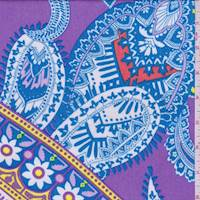 Purple/Aqua Multi Paisley Patchwork Crepon