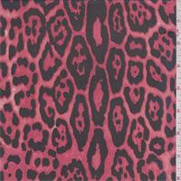 *3 YD PC--Coral/Black Cheetah Print Silk Chiffon