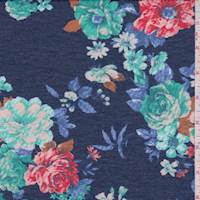 Heather Navy Floral French Terry Knit
