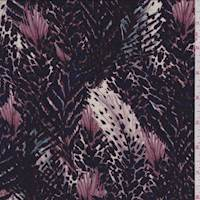 *2 5/8 YD PC--Amethyst Feather Print Jersey Knit