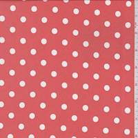 Coral Orange Polka Dot Crepe de Chine