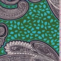 Parrot Green Paisley Scroll Crepe de Chine