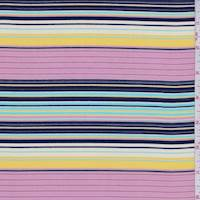 Pink/Violet/Yellow Stripe Crepe de Chine