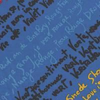 *3 PANELS--Royal Blue Print Silk Panel