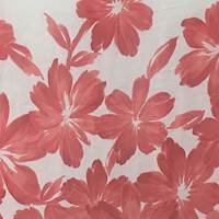 *4 PANELS--Red/Orange/Ivory Floral Crinkled Silk Chiffon
