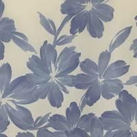 *3 PANELS--Shades of Blue Floral Silk Chiffon Panels