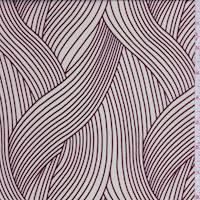 Ecru/Burgundy Ribbon Wave Charmeuse