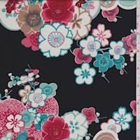 Black/Red/Aqua Floral Pop Charmeuse