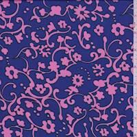 Violet/Hot Pink Floral Scroll Crepe de Chine