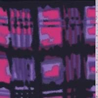 Black/Neon Pink Shadow Check Crepe de Chine