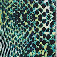 Turquoise Animal Print Rayon Jersey