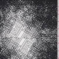 White/Black Geometric Web Crepe de Chine