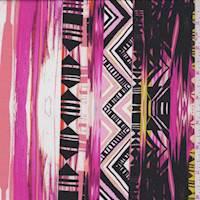 White/Hot Pink Inca Stripe Crepe de Chine