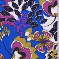Royal/Magenta Modern Floral Crepe de Chine