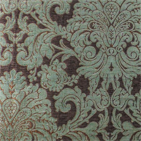 *1 1/2 YD PC--Swavelle Sage Green/Brown Chenille Damask  Decorating Fabric