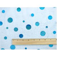 *1 1/8 YD PC--Aqua Blue Holographic Dot Sparkle Mesh