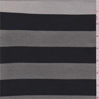 *2 7/8 YD PC--Lead/Black Stripe Double Knit