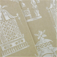 *2 YD PC--Beige/White P Kaufmann Temple Print Home Decorating Fabric