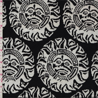 *2 5/8 YD PC--Black/Silver Gray Sol Medallion Jacquard Double Knit