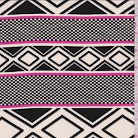 White/Black/Pink Geometric Stripe Crepe de Chine
