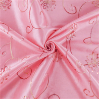 *2 1/8 YD PC--Rose Pink Floral Embroidered Sequin Tissue Taffeta