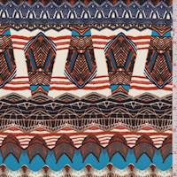 Ivory/Persimmon Tribal Crepe de Chine