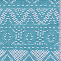 Aqua Green Laser Cut Inca Stripe Jersey Knit