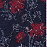 Navy/Red Carnation Floral Jersey Knit