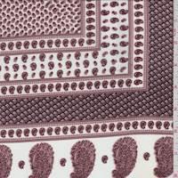 Ivory/Mahogany Paisley Tile Jersey Knit