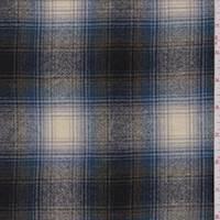 *2 7/8 YD PC--Olive/Azure Plaid Wool Flannel