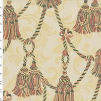 Ivory/Multi Tassel Rope Jacquard Home Decorating Fabric