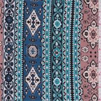 *7/8 YD PC--Beige/Turquoise Aztec Stripe Jersey Knit