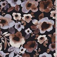 Black/Mocha/Grey Floral Rayon Challis
