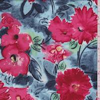 Powder Blue/Pale Red Floral Rayon Challis