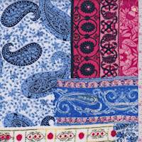 White/Coral/Perwinkle Paisley Tile Crepon