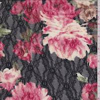 Black/Crimson Floral Stretch Lace