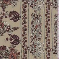 Khaki Tan Paisley Floral Stripe Crepe