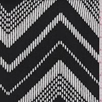 Black/White Brushstroke Chevron Crepon