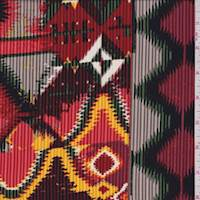 Maroon Multi Southwest Flamestitch Crepe De Chine