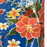Blue Hibiscus Oilcloth Roll