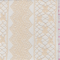 *1 YD PC--Creamy Beige Stripe Embroidered Lace