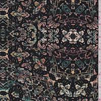 *3 YD PC--Black Multi Baroque Medallion Jersey Knit