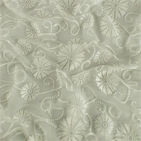 *3 5/8 YD PC--Cream White Floral Sheer Jersey Burnout