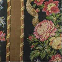 *2 YD PC--Black/Multi Texnova Floral Stripe Tapestry Home Decorating Fabric