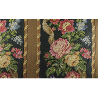 *2 YD PC--Black/Multi Texnova Floral Stripe Tapestry Home Decorating Fabric